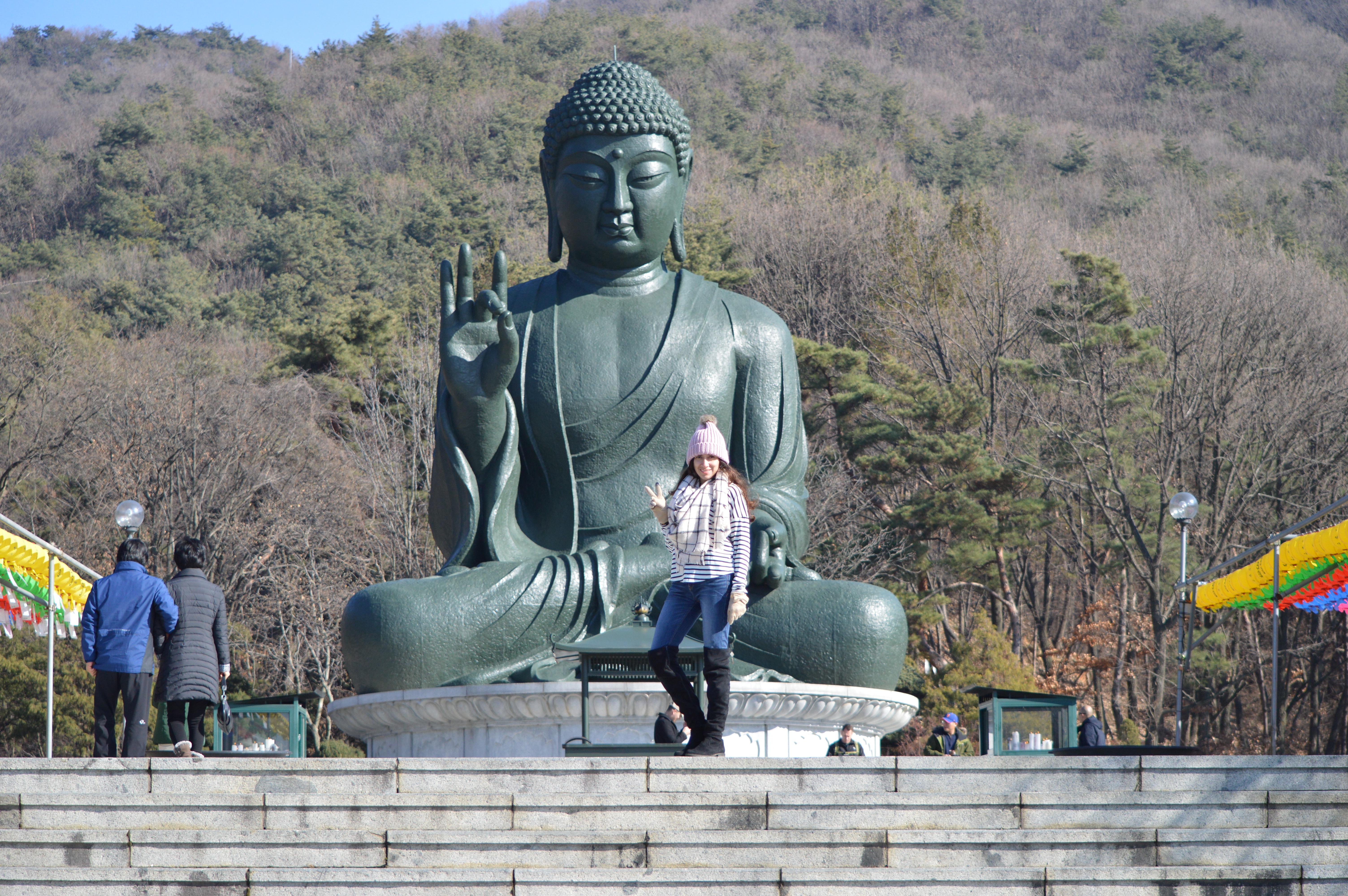 Choenan, South Korea, stipe shirt, fashion, fashion blogger, how to blog, south korea, why it is important to network, blogging, otk boots, fall style, girl clothes, women clothes, shopping, style, giant buddha, largest buddha statue