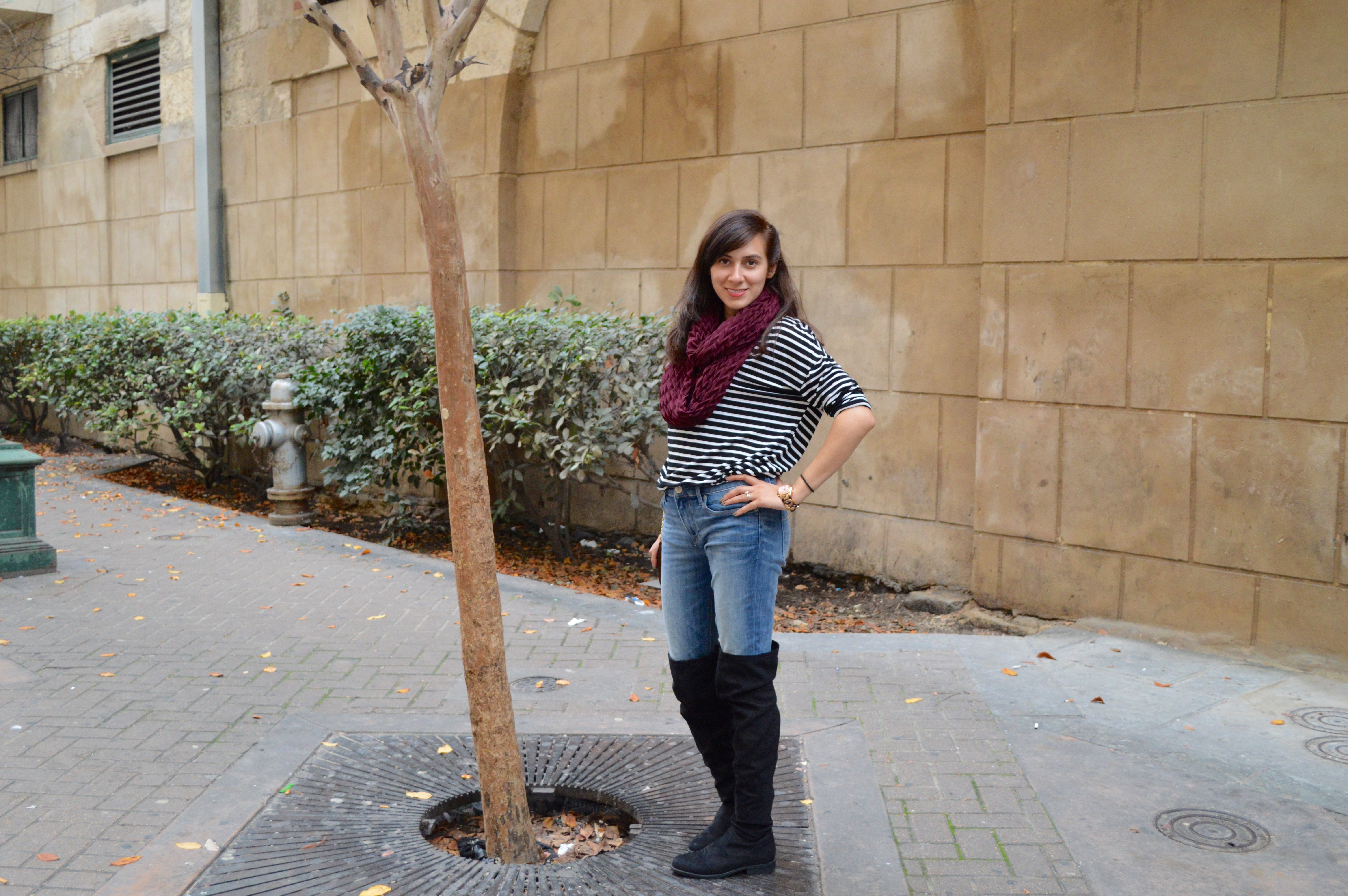 stripe dress, winter fashion, women clothes, shop my blog, over the knee boots, OTK, fashion blogge