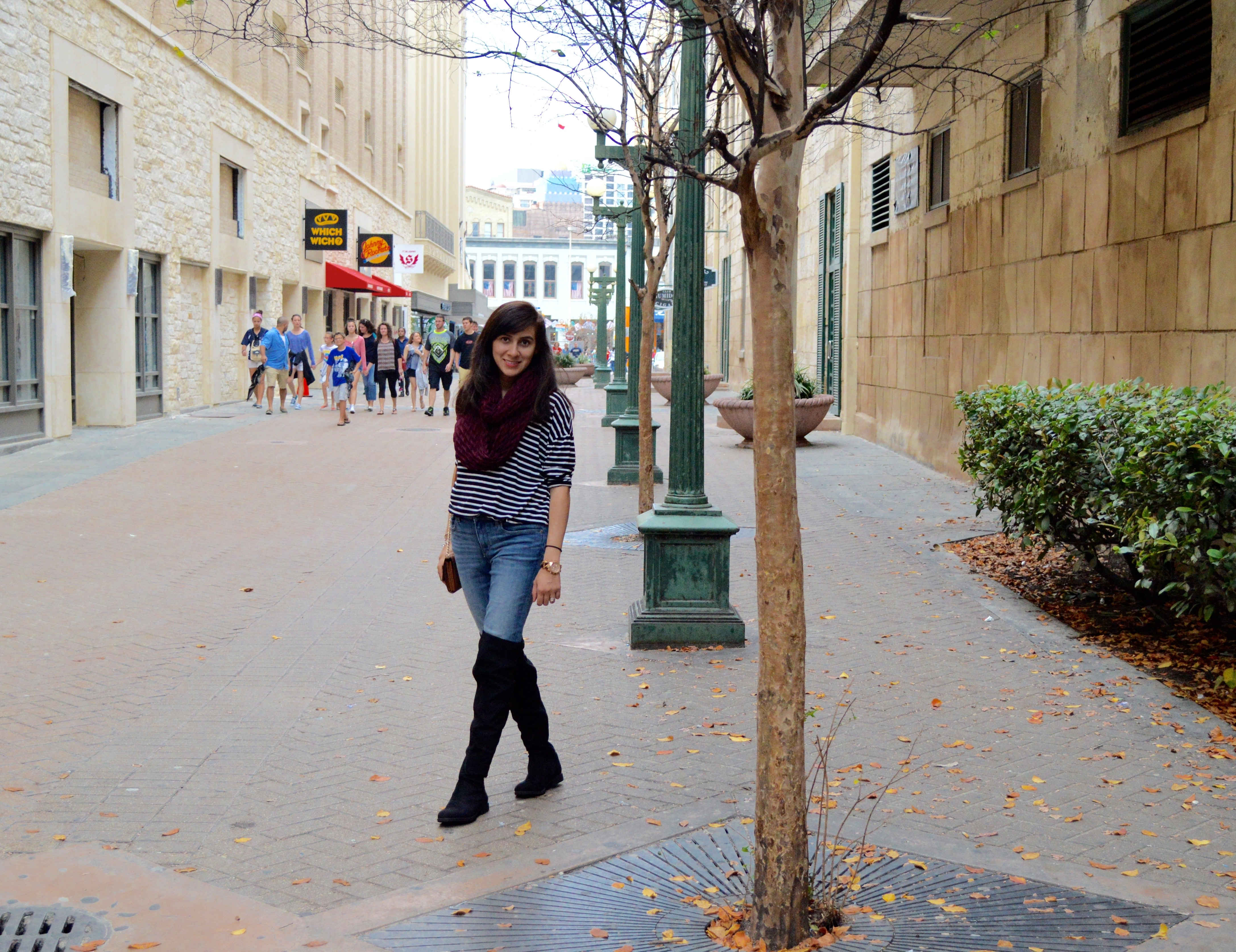 stripe dress, winter fashion, women clothes, shop my blog, over the knee boots, OTK, fashion blogger, san antonio, texas
