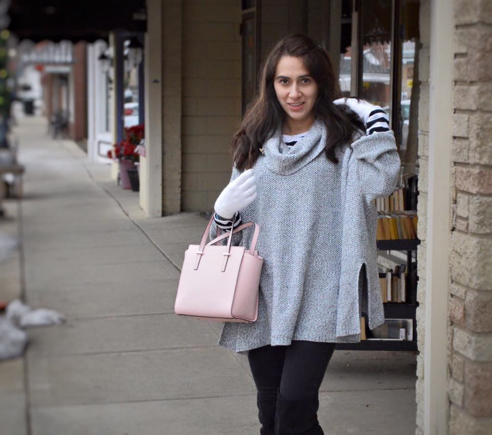 Stripes and This Cozy Poncho + My Visit to Illinois