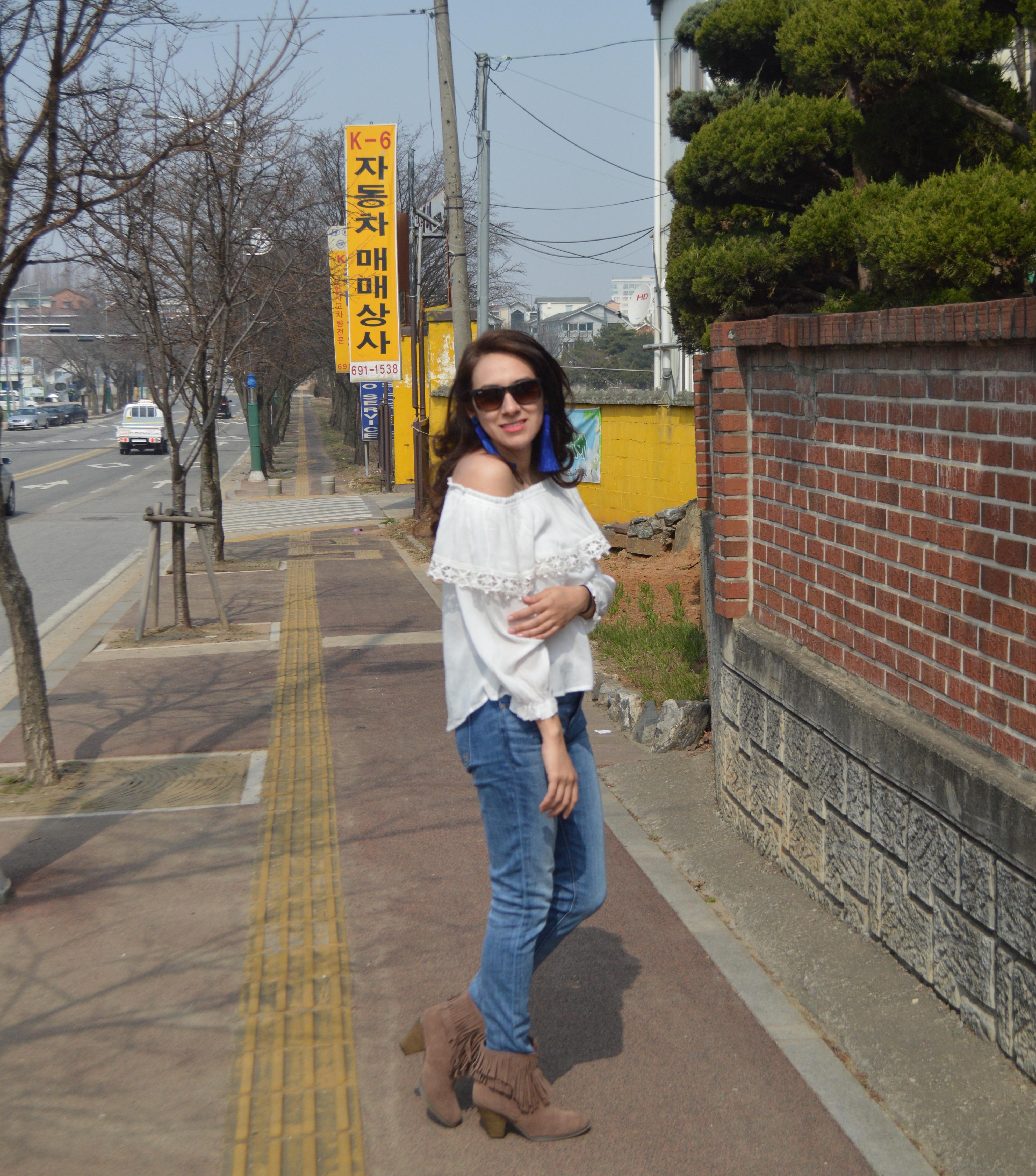 Off the Shoulder Blouse, korea