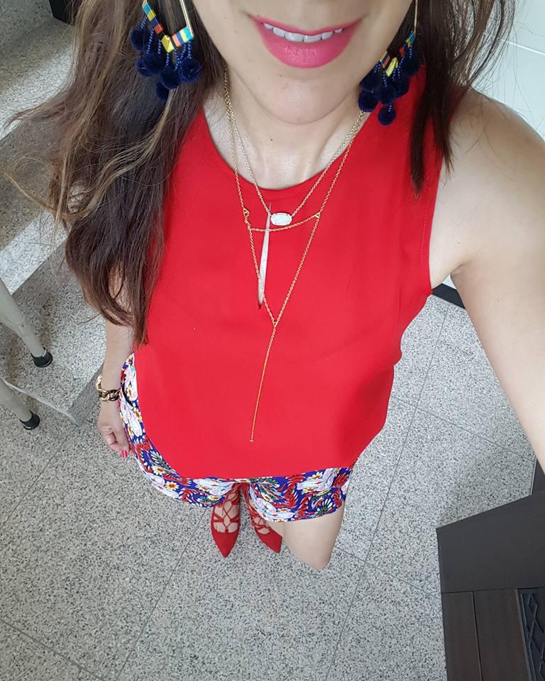 Red shoes, Printed Shorts, RocksBox